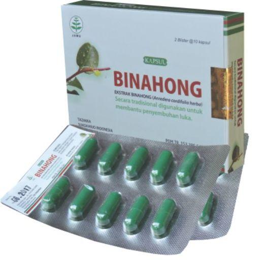 foto gambar produk kapsul herbal binahong blister obat mempercepat penyembuhan luka pasca operasi dan melahirkan
