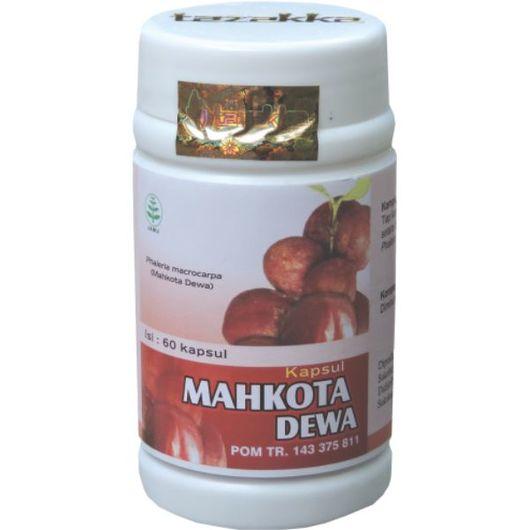 foto gambar produk herbal tazakka herbal sukoharjo manfaat tanaman mahkota dewa kemasam kapsul botol
