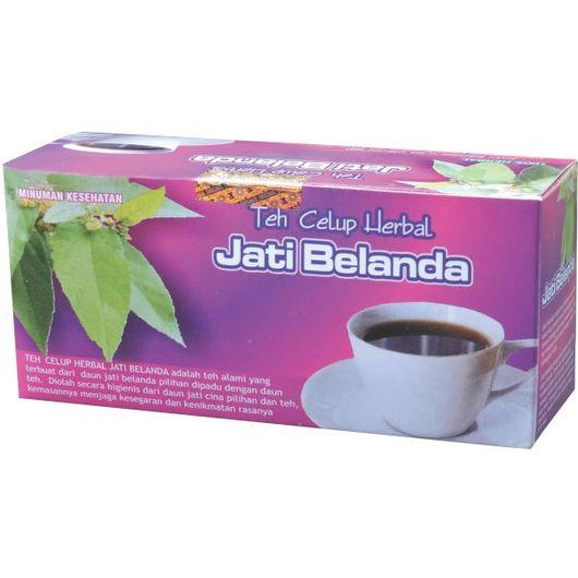 foto gambar produk herbal tazakka herbal sukoharjo daun jati belanda kemasan teh celup