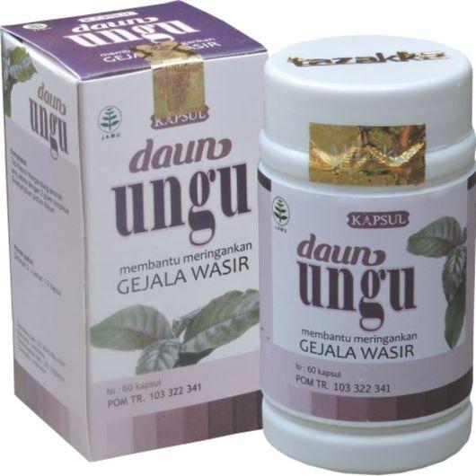 foto gambar produk herbal tazakka herbal sukoharjo manfaat tanaman daun ungu obat wasir alami kemasam kapsul botol