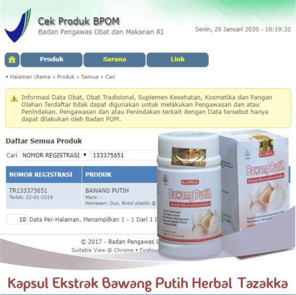 Kapsul Bawang Putih Herbal Tazakka Original Halal BPOM