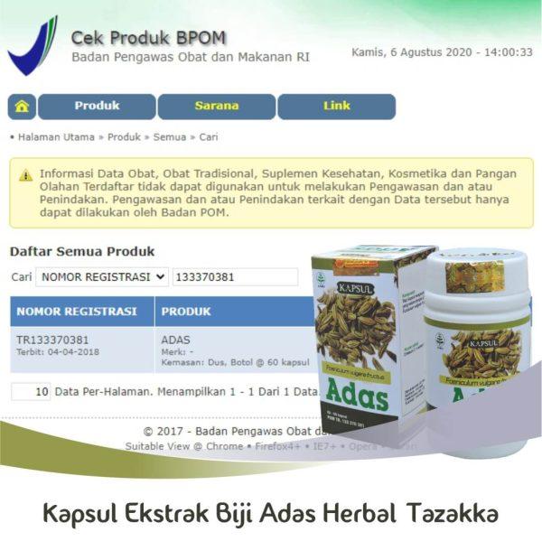 Kapsul Biji Adas Herbal Tazakka Original Halal BPOM