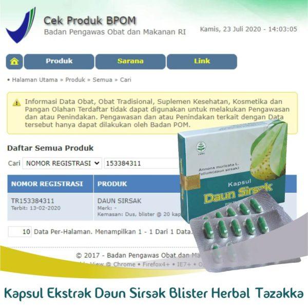 Kapsul Daun Sirsak Blister Herball Tazakka Original Halal BPOM