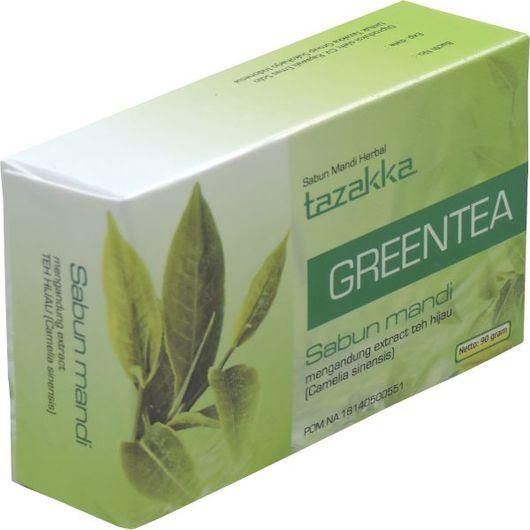 foto gambar produk herbal sabun mandi ekstrak teh hijau green tea tazakka herbal sukoharjo.