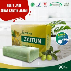 Sabun Mandi Batang Ekstrak Zaitun Herbal Tazakka Official Store 90 gr Pelembab Kulit Kering Soap Bar