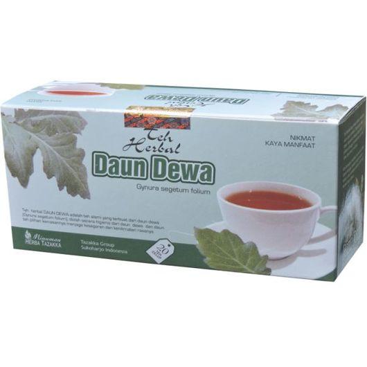 foto gambar gambar produk herbal daun dewa kemasan teh celup tazakka herbal sukoharjo obat anti karsinogen dan melancarkan peredaran darah