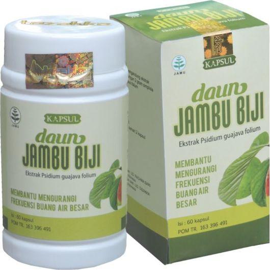 foto gambar produk herbal tazakka herbal sukoharjo manfaat tanaman daun jambu biji obat alami diare kemasan kapsul botol