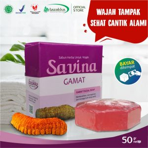 Sabun Cuci Muka Savina Gamat Kolagen Herbal Tazakka Official Store 50gr Anti Aging Jerawat Soap Bar COD