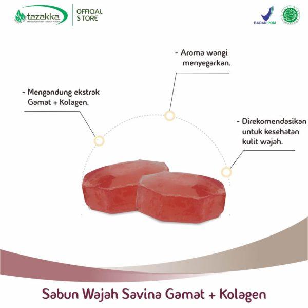 Sabun Wajah Herbal Savina Gamat Emas Plus Kolagen Tazakka