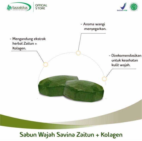 Sabun Wajah Herbal Savina Zaitun Plus Kolagen Tazakka