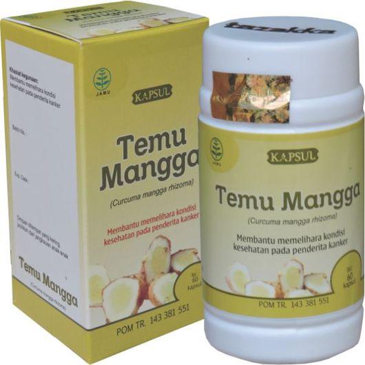 foto gambar produk herbal tazakka herbal sukoharjo manfaat tanaman temu mangga obat untuk kesehatan anti kanker alami kemasan kapsul botol