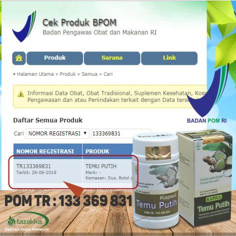 obat herbal kanker kista peluruh haid darah lancar temu putih tazakka BPOM