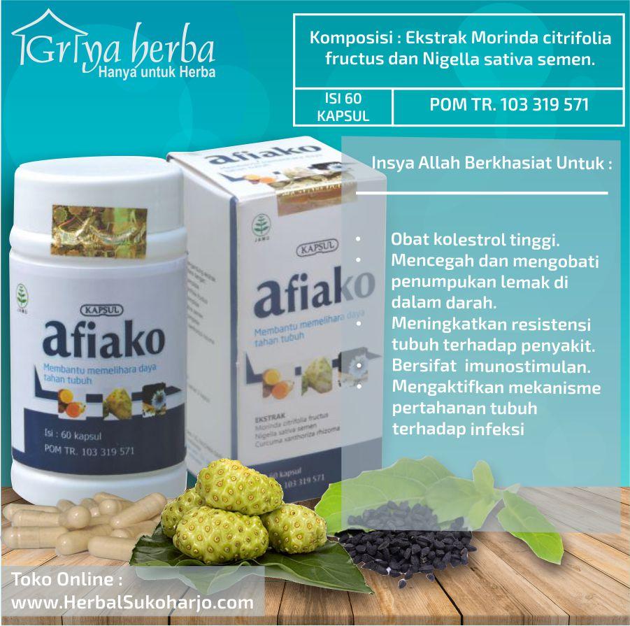 foto gambar produk kemasan Obat herbal untuk penyakit lemak darah jahat kolesterol afiako dari griya herba tazakka group