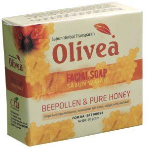 contoh foto gambar Sabun wajah herbal facial shop olivea beepollen serbuk sari dan pure honey Tazakka untuk membantu mengatasi masalah kulit kasar agar kulit tampak sehat dan halus.