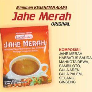 contoh foto gambar katalog produk herbal sukoharjo jawa tengah Minuman kesehatan instan siap seduh Herbal Jahe Merah Original dari Tazakka Kemasan Sachet