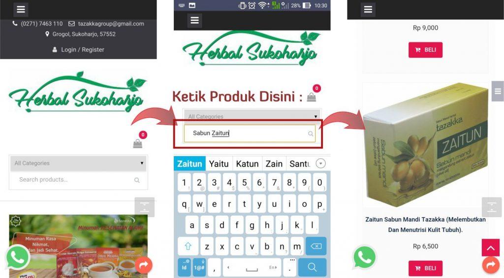 contoh foto gambar cara belanja dan memesan barang online di toko online terbaik herbal sukoharjo Tazakka group bagian 1