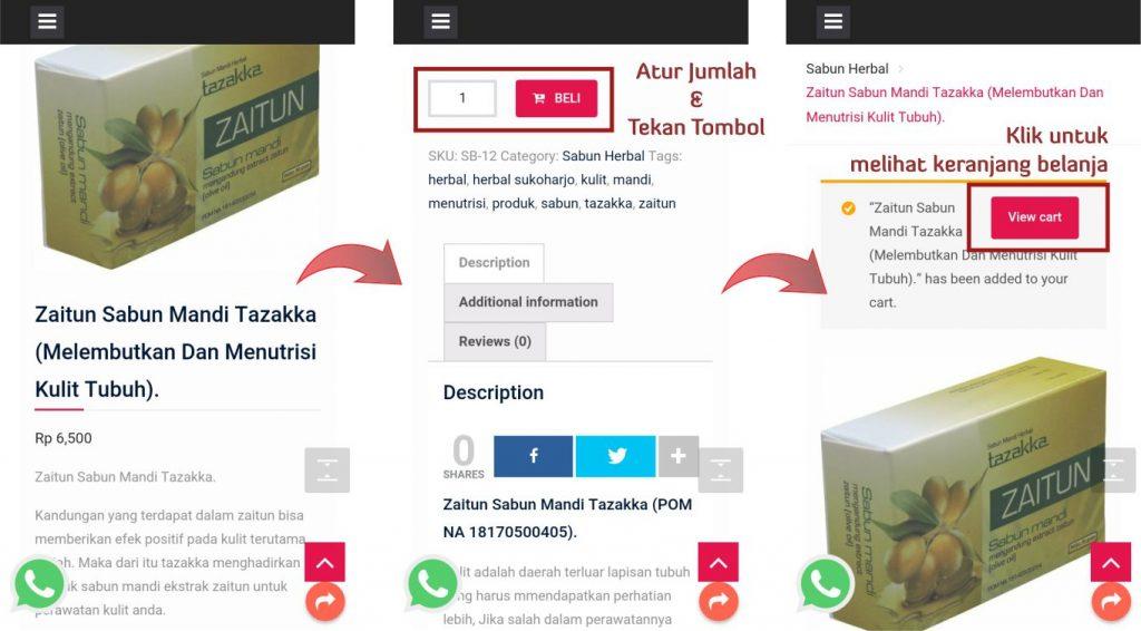 contoh foto gambar cara belanja dan memesan barang online di toko online terbaik herbal sukoharjo Tazakka group bagian 2