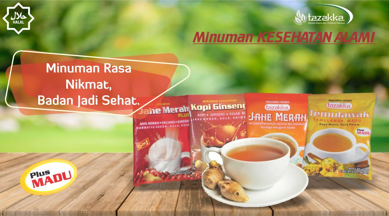 contoh foto gambar katalog produk slider aneka minuman kesehatan wedang jahe herbal sachet instan tazakka