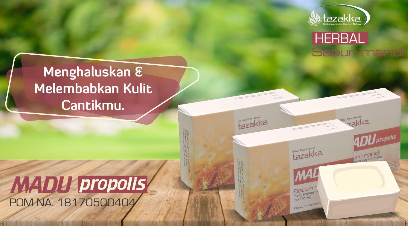contoh foto gambar katalog produk slider sabun mandi herbal tazakka madu propolis untuk melembabkan dan melembutkan kulit
