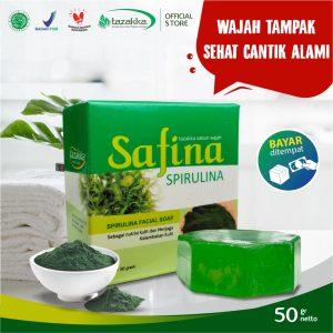 Sabun Cuci Muka Safina Spirulina Herbal Tazakka Official Store 50gr Pencerah Wajah Glowing Soap Bar.