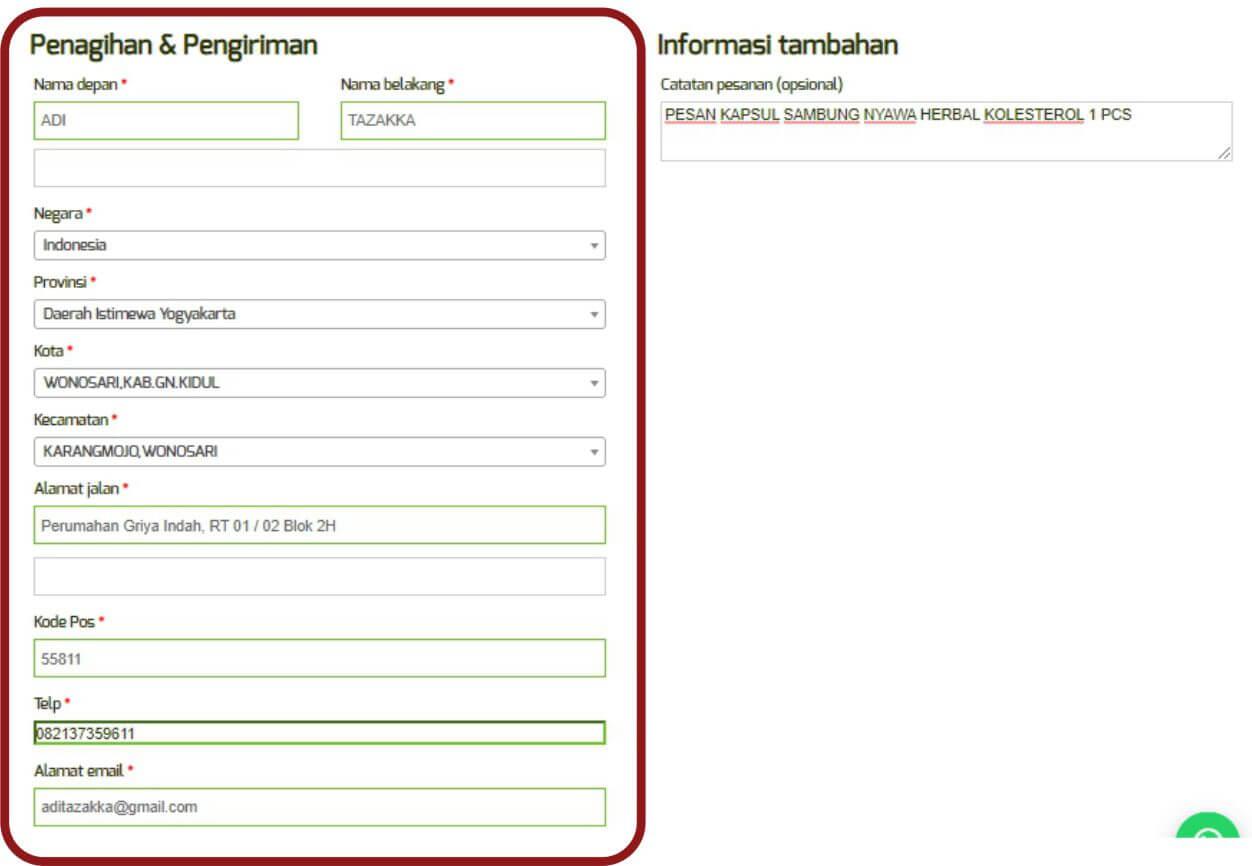 Cara order panduan langkah-langkah dengan gambar step by step belanja online di toko herbal terpercaya Tazakka Group 8